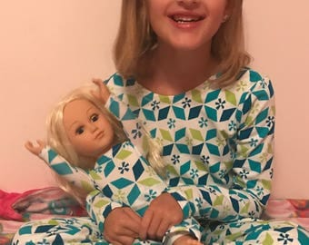 Matching girl and doll pajamas,6 prints,girls knit pajamas,girls pajamas,doll pajamas,matching sister pajamas,girls pajamas,winter pajamas