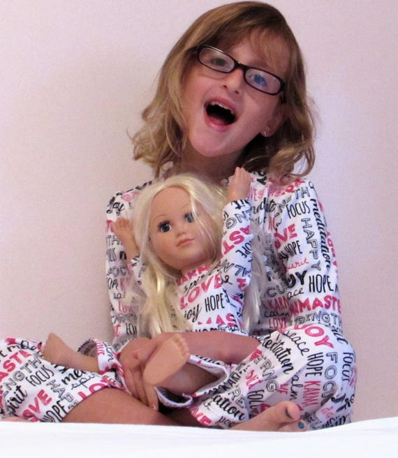 Girls pajamas,matching girl and doll pajamas,7 prints,girls knit pajamas,girls pajamas,doll pajamas,matching sister pajamas,girls pajamas
