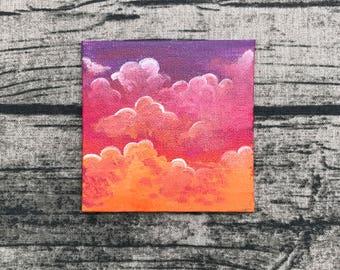 A little piece of Heaven - original tiny small acrylic canvas painting art - clouds sunset sky