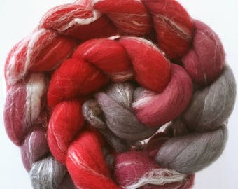 Cherry Ripple ~ hand dyed combed tops for spinning Merino Bamboo 100g