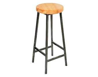 Bertie Ashton - Steel Frame Industrial Bar Stool with Chunky Ash Seat