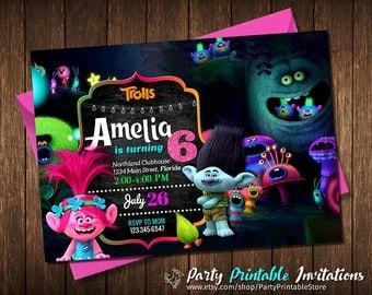 Trolls Invitation, Trolls Birthday Party, Trolls Birthday Invitation, Trolls Instant Download Invitation, Personalized, Printable
