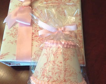 NEW OFFERING!  Fabric Covered Photo Album And Nightlight Combo!  Adorable Pink Toile!
