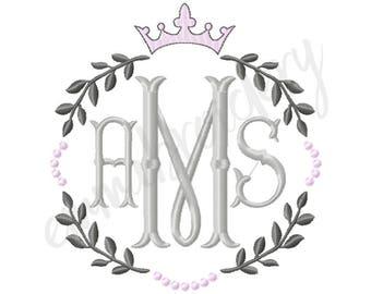 "Heirloom Crown Monogram Frame - Princess Wreath Blank Monogram Machine Embroidery Design - 3 Sizes - 4"" 5"" 6"" - 8 File Formats - PES JEF DST"