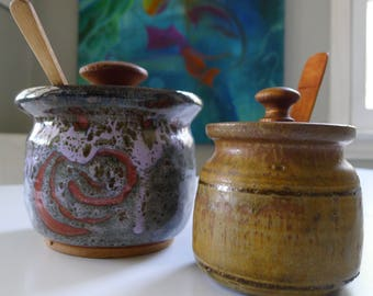 Pair of stoneware lidded containers by Pocock, Mid Century Modern handcrafted Art Pottery