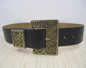 Black Vermillion genuine leather alligator style belt