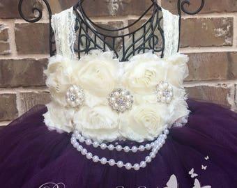 Plum Flower Girl Dress, Plum Tutu Dress, Plum Tulle Dress, Plum Dress, Eggplant Flower Girl Dress, Eggplant Tutu Dress, Eggplant Tulle Dress