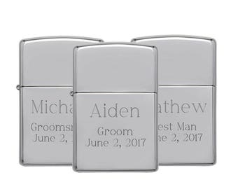 Set of 7 Personalized Zippo Lighters, High Polish Chrome, Engraved Zippo, Custom Zippo, Groomsmen Gifts, Best Man, Brother, Father - Z250