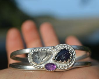 Handmade sterling silver amethyst, tourmalited quartz, and iolite-sunstone cuff//bracelet//size extra small-small