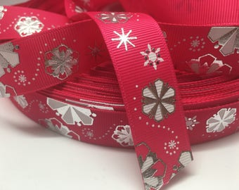 "3 yards 7/8"" winter Christmas hot pink foil snowflake on pink grosgrain"