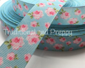 USA DESIGNER 3 yards Vintage Feel Rose Garden on Blue grosgrain ribbon
