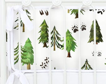 Woodland Trees Baby Bumpers | Woodland Trees, Animal Footprints | Woodland Trees Crib Bedding Collection