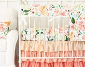 Secret Garden Crib Set | Watercolor Floral Crib Bedding, peach, coral, green, large floral | Floral Baby Bedding | Floral Nursery