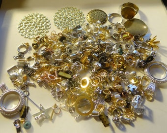 Bead Findings Assorted, Earrings, Pendants, etc.., Mixed Materials, Colors, Sizes & Shapes. 3 oz., #1644-5