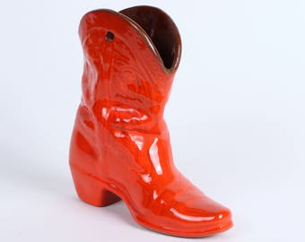 """Frankoma Vase Boot Wall Pocket in """"Red Flame"""" Glaze"""