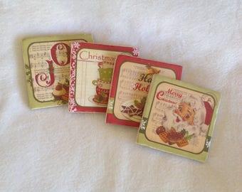 Natural Stone Vintage Christmas Coasters, Santa Coasters, Vintage Coasters, Christmas Decor, Beverage Coasters
