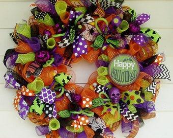 Halloween Wreath, Halloween Deco Mesh Wreath, Halloween Décor, Halloween Door Wreath