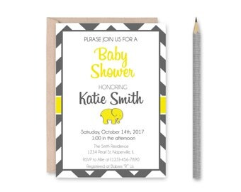 Custom Printable Yellow and Grey Chevron Baby Shower Invitations | Digital Download | Elephant Baby Shower Invitation | Chevron Pattern