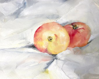 Peaches still life, original oil painting on panel 18x24 cm