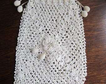 Vintage White Crocheted Purse/ Antique Handbag/ Drawstring Purse/ Evening Handbag/ Victorian Look Bag/ Crochet Bag/ Decorative Flower Bag/