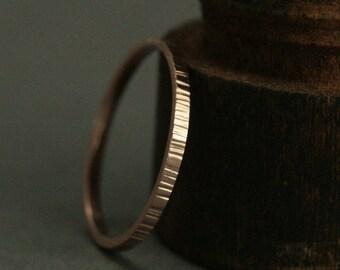 Thin Bark Ring--Tree Bark Band--2mm Flat Edge Ring--Bark Texture Ring--14K Rose Gold Band--Women's Wedding Ring--Hammered Band--Rustic Ring