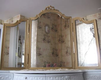 Fabulous,French Gold Gilt Ribbon & Bow Tri Fold Boudoir Mirror...