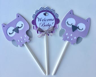 Owl cupcake toppers/ Lavender Cupcake toppers/ Safari cupcake toppers/ It's a Girl cupcake  toppers