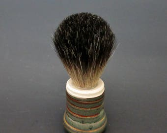 Shaving Brush, Wheel-Thrown Stoneware, Badger Bristle, Waterfall Brown