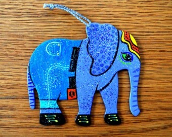 Elephant in Pants Ornament - Hand Painted - One of a Kind