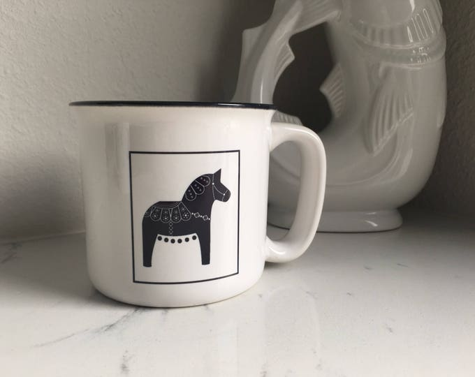 Black and White Dala Horse Campfire Mug