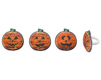 12 Pumpkin Faces Cupcake Rings Halloween Fall Pumpkins Toppers Party Favors