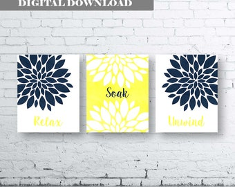 Bathroom Print Art-Relax Soak Unwind-Watercolour Art-Navy Yellow.Flower Bathroom.Bathroom Decor.Wall Print.Flower Art.Gift. Sets. Yellow Art