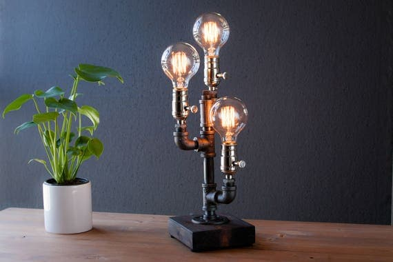 Triple Cactus Industrial Lighting - Steampunk Lamp - Table Lamp - Edison Light - Vintage Light - Pipe Lamp - Bedside Lamp - Rustic Lighting