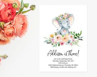 Floral Wreath Birthday Invitation, Elephant Birthday Invite, Kids Birthday, Blush Pink Flowers, Delicate Boho Watercolor