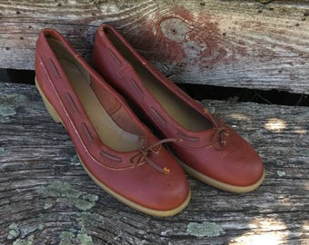 Vintage Leather Wedge Heels. Women's size 7 1/2. Abhadabbas. Brown Leather. 1970's. Simple Shoes. Warm Brown Leather high Heels. Round Toes.