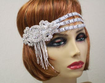 Gatsby headpiece, 1920's headpiece, Wedding headpiece, Flapper headband, Silver Rhinestone headband, Roaring 20s dress, 1920s hair accessory
