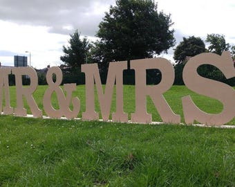 Giant 3ft MR & MRS wedding display letters - Large free-standing MDF