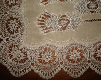 antique french lace cloth/ lace table runner /vintage rectangle lace dollie