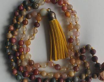 Tassel Mala Necklace Bloodstone Mala Quartz Mala Necklace 108 mala beads prayer beads 108 knot necklace meditation necklace yoga beads