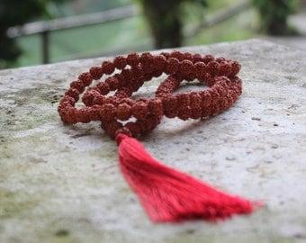 Sacred Rudraksha Seed Mala Necklace w/Red Tassel
