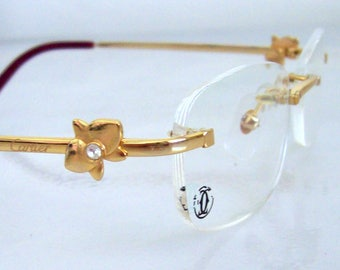 Vintage Eyeglass Frame 18K Gold plated Rimless Eyeglass Glasses Made in France Consdition Mint for women clear Lens for your PX. Great Gift