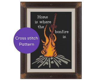 Home is Where the Bonfire is Cross Stitch Pattern