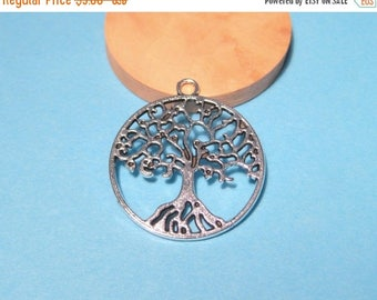 50% OFF Clearance Sale-- Antique Silver Round Tree charms Pendants 25mm