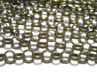 5 Ft Antique Bronze Iron Rolo Chains 7mm Round Chains Links-Opened  ( No.05Y)