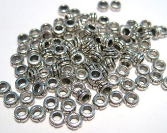 50pcs Small Antique Silver Small Spacer Beads 3.5mm