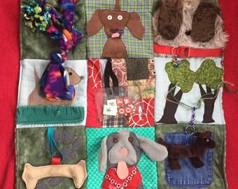 Fidget Quilt/Sensory Blanket- Dogs- Woof