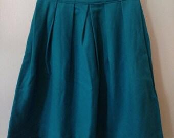 Vintage Turquoise Pleated Wool Skirt