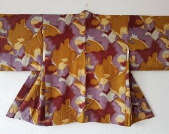 "KIMONO purple & yellow ""HAORI"" / Kimono jacket / ""Shibori"" gradation tie-dye silk lavender and mustard/ abstract motif/ Japanese vintage"