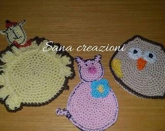 crochet cotton coasters handmade ANIMALS