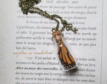 orange and black Butterfly wing necklace